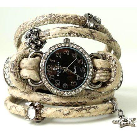Armbånd med ur i slange- eller lammeskind
