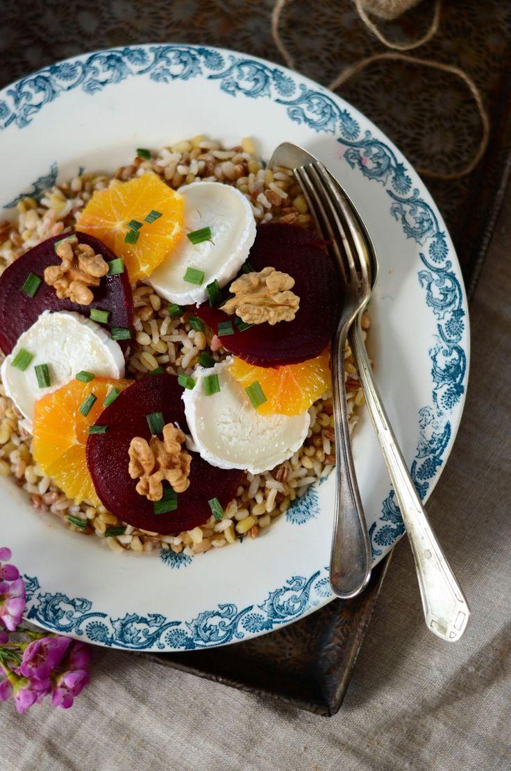 Salade de betterave rouge, céréales et orange {recette végétarienne}