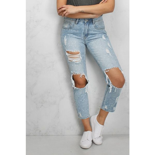 Rare Blue Ripped Boyfriend Jeans (2,345 PHP) ❤ liked on Polyvore featuring jeans, boyfriend jeans, torn jeans, boyfriend fit jeans, loose fitting boyfriend jeans and destructed jeans