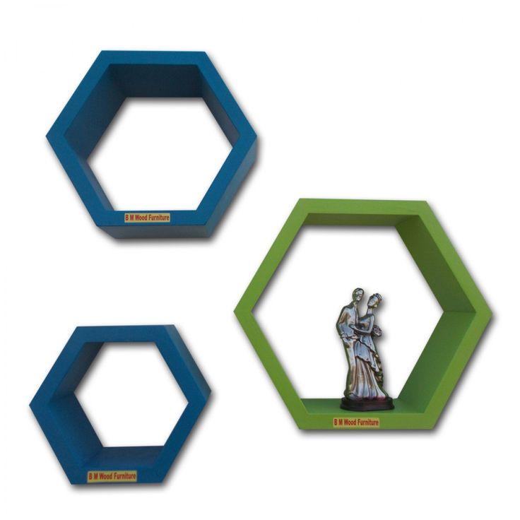 BM WOOD Furniture Set Of 3 Hexagon Shaped Wall Shelves Rack