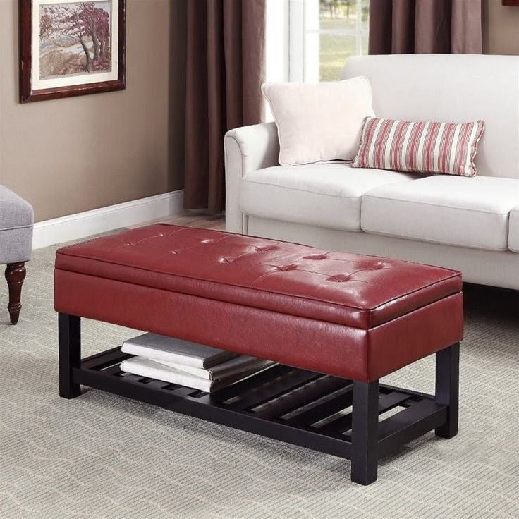 faux leather storage bench in radicchio red - axccos-ottbnch-01-rrd