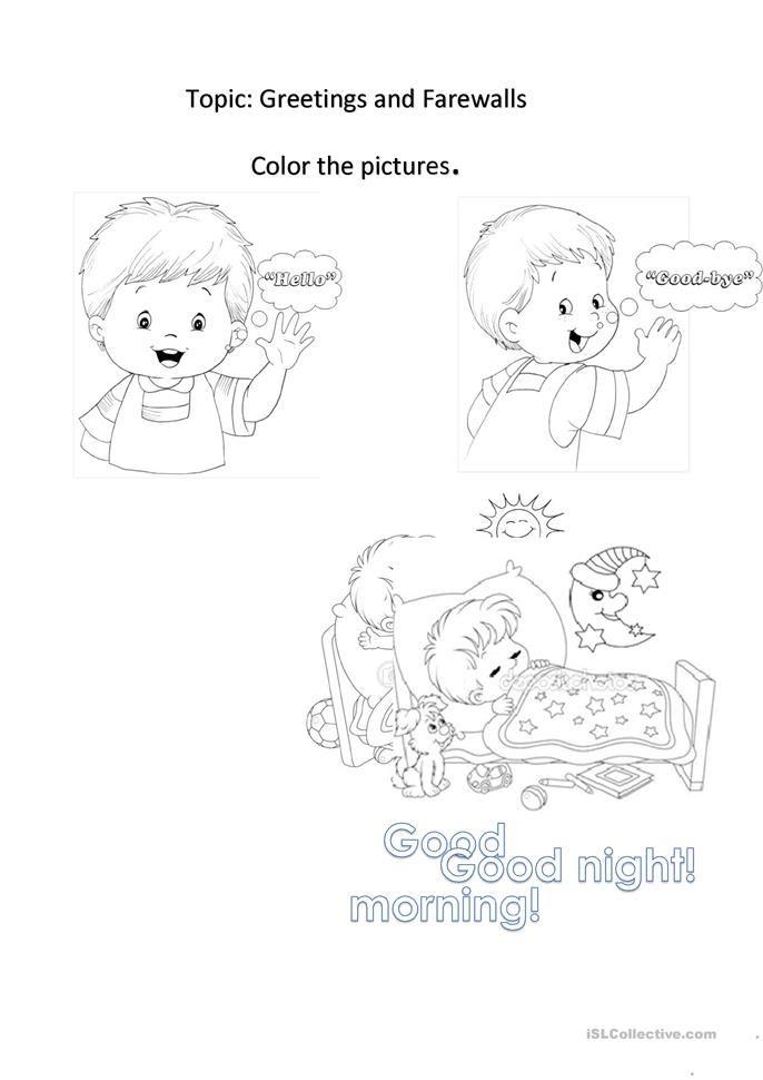 Greetings English Esl Worksheets Greetings Kindergarten Worksheets Color Activities Kindergartenworksheets asl coloring pages b