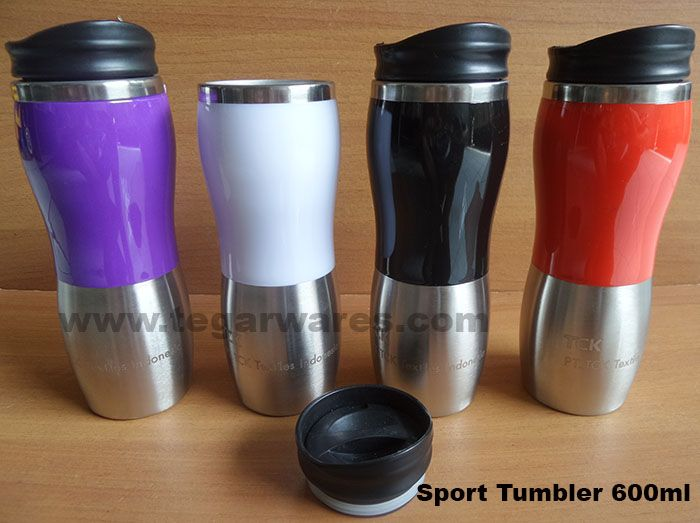 port Tumbler 450ml capacity Size: 22 x 6.5 x 6.5cm, Capacity: 450ml. Color: Black, Blue, violet, yellow and Red. Tumbler Sport types can be your choice. Made of steel with a material that is safe to use. Attending the two-tone design in black and silver colors, ideal for companies that want goods or merchandise exclusive promotions. As shown above, a sport tumbler ordered by TCK Textiles Indonesia, Tangerang Indonesia.