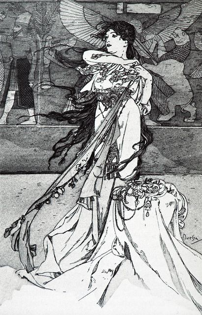 Kleurplaat naar Alfons Mucha *Colouring Picture A.Mucha-like ~Rama: poème dramatique en 3 actes' van Paul Vérola; illustraties van Alphonse Mucha (1898)~