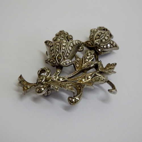 Buy Vintage top class Sterling Silver and marcasite flower broochfor R450.00