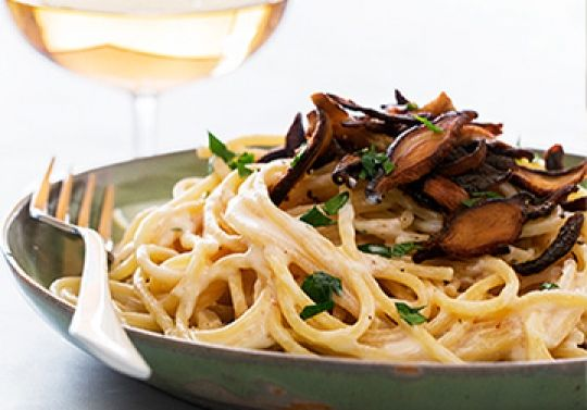 Pasta Carbonara with Shiitake Bacon | Chloe Coscarelli - Vegan Chef