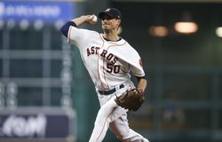 Aug 5, 2017; Houston, TX, USA; Houston Astros starting pitcher Charlie Morton (50) delivers a pitch during the sixth inning against the Toronto Blue Jays at Minute Maid Park. Mandatory Credit: Troy Taormina-USA TODAY Sports