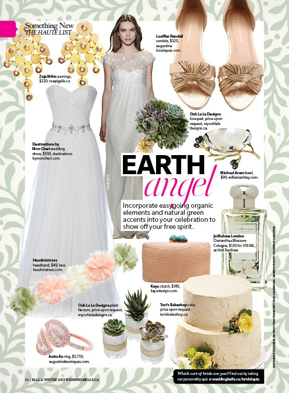 Our succulent bouquet and favours featured in Weddingbells magazine Fall/Winter 2013