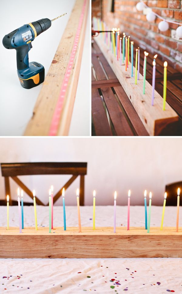 #Tischdeko für den nächsten #Geburstag. Einfach in ein langes #Holzbrett kleine Löcher für #Geburtstagskerzen bohren. #DIY
