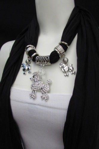 New-Women-Fashion-Black-Fabric-Scarf-Long-Necklace-Rhinestone-Poodle-Dog-Pendant