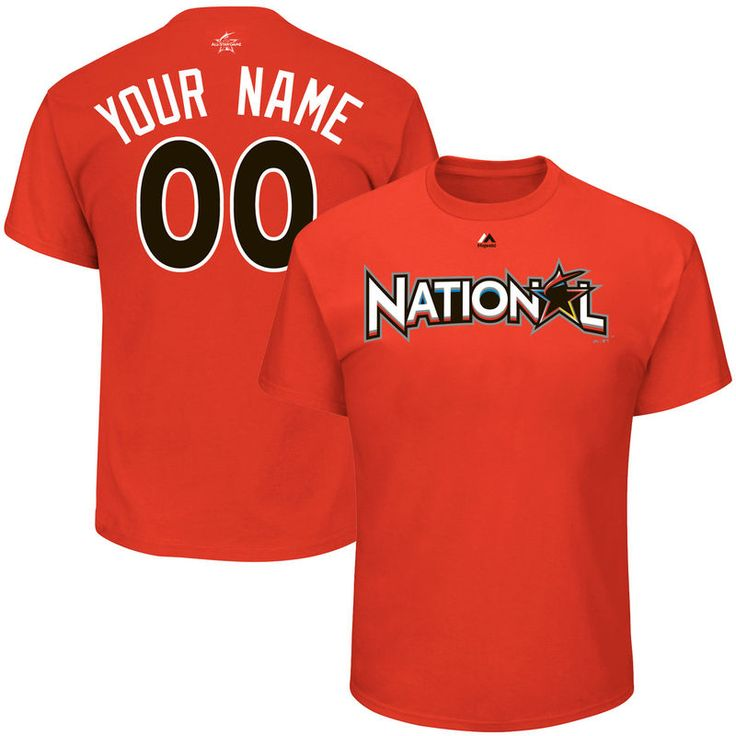 National League Majestic 2017 MLB All-Star Game Personalized Name & Number T-Shirt - Orange