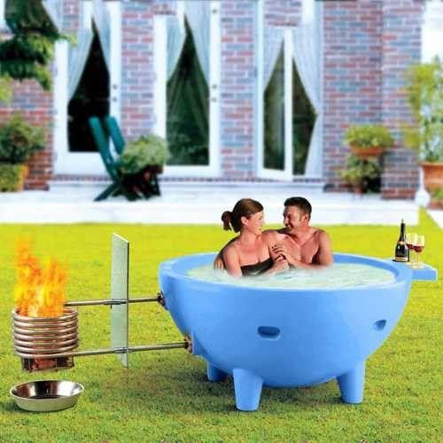 Alfi Fire Hot Dutch Tub Outdoor Wood Fired Hot Tub - Light Blue - WaterCheck.biz