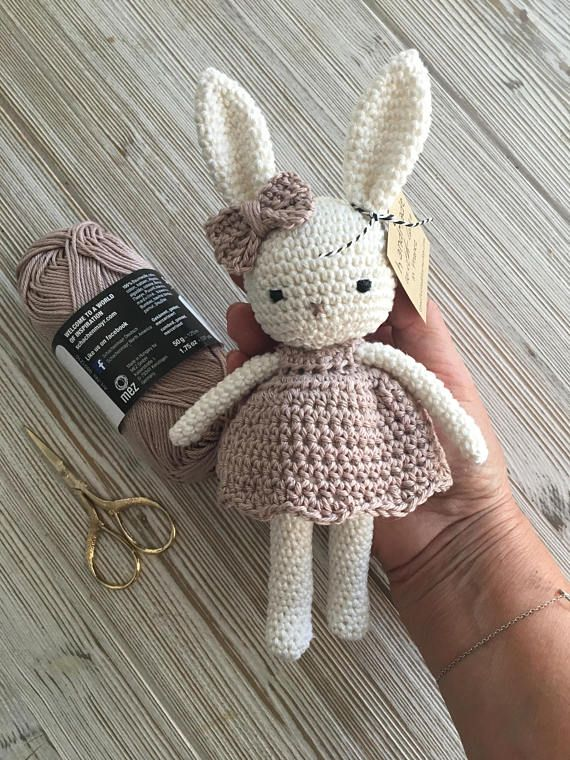 Lovely amigurumi animal bunny girl with lovely dress, hand crochet soft cuddly toy, perfect soft cuddly toy for your child
