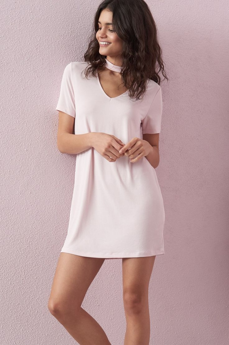 Pretty in pastel Girlfriend Choker T-Shirt Dress