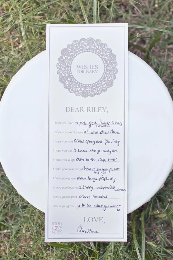 Wishes for Baby. This would be an adorable idea for guests to fill out at Ellie's first brithday.