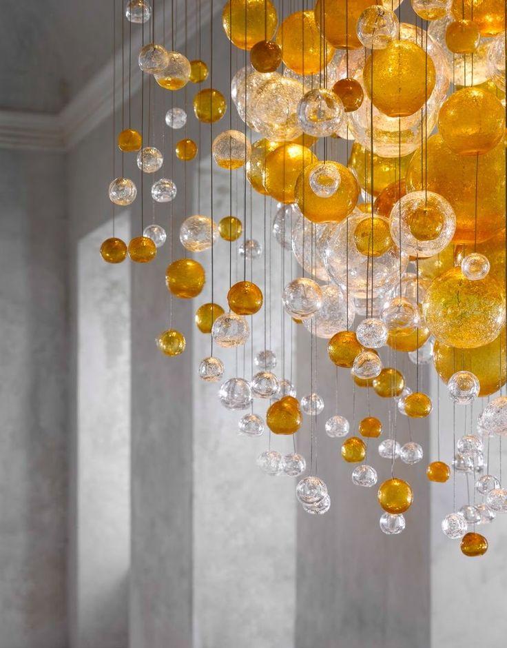 BLOWN GLASS CHANDELIER BUBBLES IN SPACE LIGHTING SCULPTURES COLLECTION BY LASVIT | DESIGN JITKA KAMENCOVÁ SKUHRAVÁ