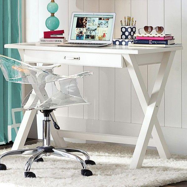 PB Teen X Frame Desk, Dark Espresso ($270) ❤ liked on Polyvore featuring home, furniture, desks, brown, brown wooden desk, x-frame, pbteen furniture, wood desk and brown wood furniture