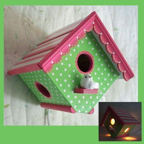 Girls Birdhouse Night Light-Nursery Lamp by RFClocksandLights