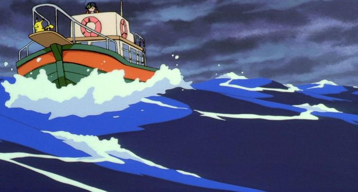 #Maren's boat getting knocked about by the rough seas. Learn all about #Pokemon the Movie 2000: The Power of One as the shorts that accompanied it @ http://www.pokemondungeon.com/movies/pokemon-the-movie-2000-the-power-of-one