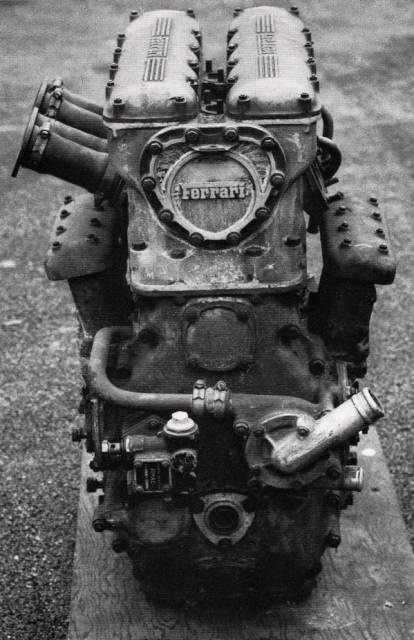 "'55 Ferrari ""Tipo 116"" F1 motor: Lampredi designed 2.5L inline 2-cylinder, DOHC, 4-valves per cylinder, ""thumper"" 175bhp @ 4800rpm; abandoned for more conventional in-line 4 units, as the poor balance broke the crankshaft."