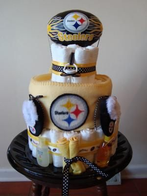 Front View: A football diaper cake is such a fun theme! And this Pittsburgh Steelers diaper cake is so well done. The Steelers colors are great, and I love the football