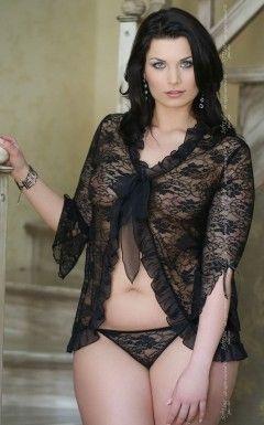 XEmilie - Plus Size - black 1780 peniuar i stringi
