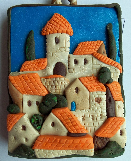 fimo village - another great idea! A miniature wall plaque....or even a slightly larger version as an outside wall decoration for a Dollshouse garden.