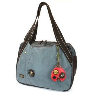 """Chala Bowling Bag - LadybugRoomy, Convenient, Comfortable  Comes with a detachable Ladybug Key Fob/Coin Purse (as shown) Front flower button detail Front and Back Snap Closure Striped Pockets Front Zipper pocket for phones, keys, and other accessories! Top Zipper Closure Inner slide and zipper pockets Fabric pattern lining Materials used: Faux leather/Cotton Canvas Approx. Measurements: 17"""" x 7"""" x 11.5"""" Handles Drop: 9.5""""Designed in California, USA  Made in China  Colors may not be exactly…"""