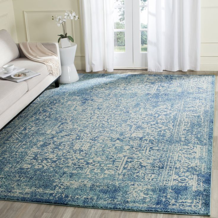 Safavieh Evoke Blue Ivory Area Rug X Size Plastic Abstract