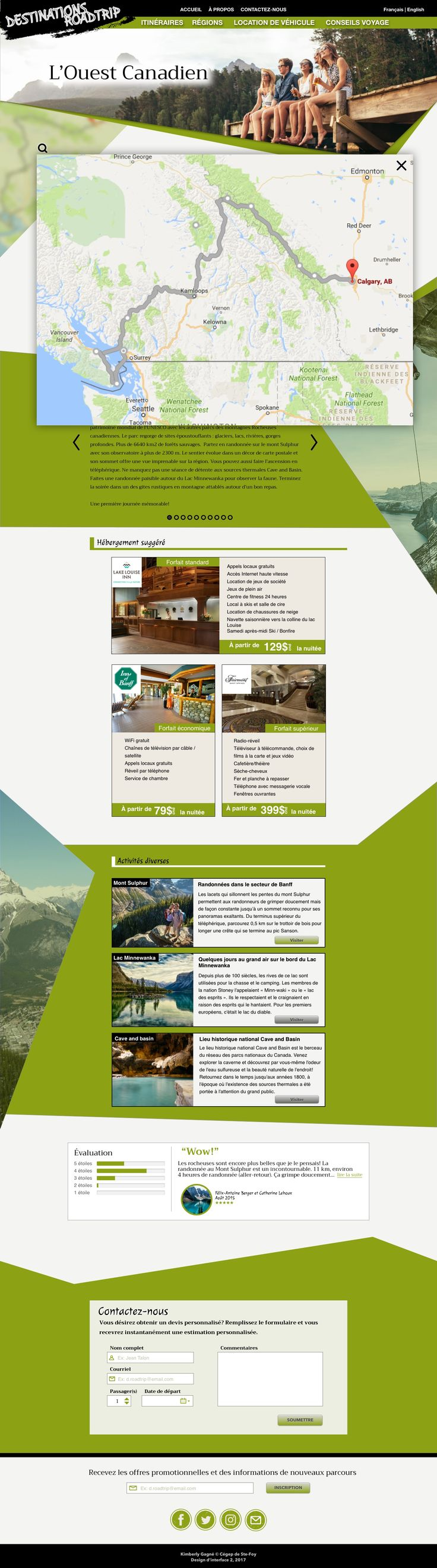 Design d'interface 2 - Projet 2: RoadTrip - Version Desktop avec Carte - Kimberly Gagné 2017   Créer avec Sketch