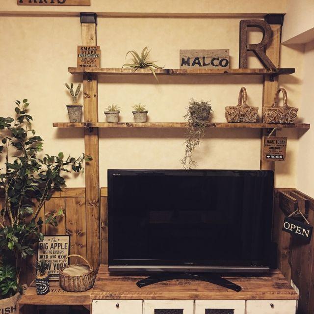 malco-yanさんの、インスタ→malco_yan,友人とmalcoで活動してます♡,フェイクグリーン,木製プレート,手作り雑貨,ステンシル,板壁DIY,DIY,ウォールシェルフ,ディアウォール,壁紙屋本舗,いなざうるす屋さん,壁/天井,のお部屋写真
