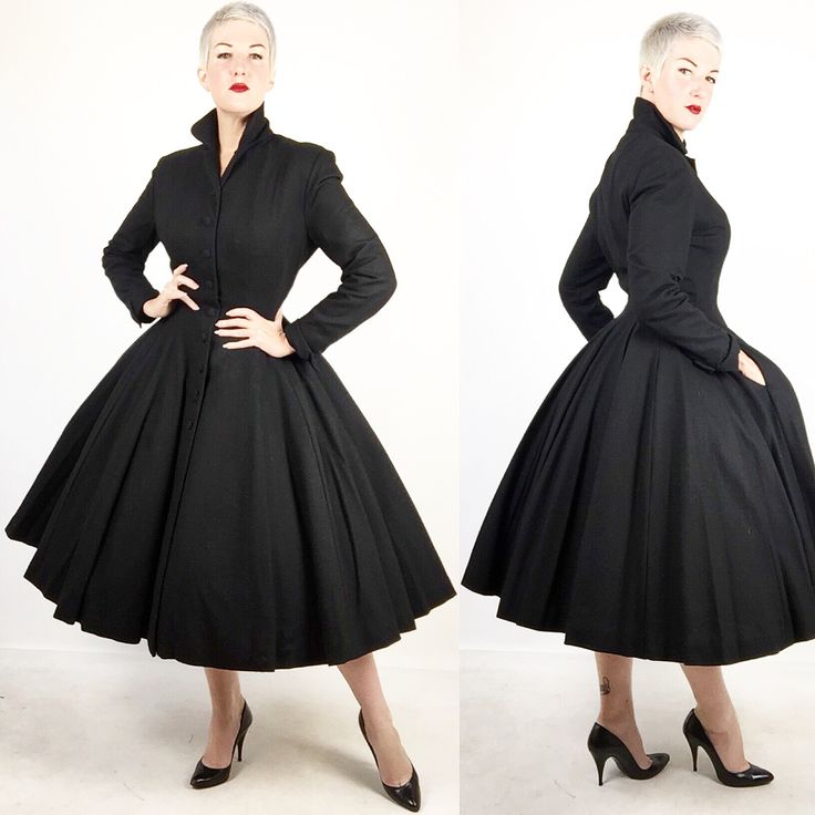"""UP FOR GRABS! {Swipe left} The epitome of fall and winter chic, A piece that will be a go to wardrobe staple and always in style. Sourced in Europe, it's an impeccably tailored inky black #wooljersey, early #1950s #newlook #fitnflair #princesscoat by """"Marton Bregman Original!"""" Excellent condition, fits a size #medium to #large with a 34 to 41 inch bust, a 26 to 30 inch waist, free hips, and 48 inches total length. Fully lined, arms and everything, in iridescent pumpkin orange silk organza…"""