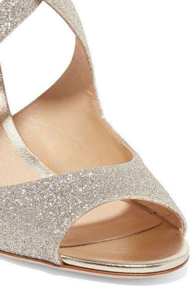 7b69d38fd9c Jimmy Choo Emily 85 Glittered Leather Sandals - Silver  Emily Jimmy Choo