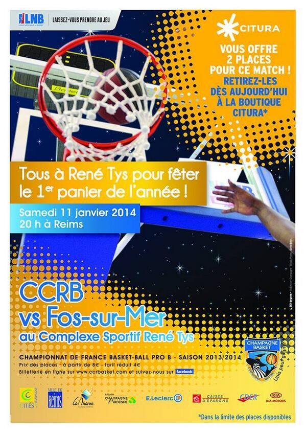 Basket CCRB reçoit Fos sur Mer. Le samedi 11 janvier 2014 à Reims.  20H00