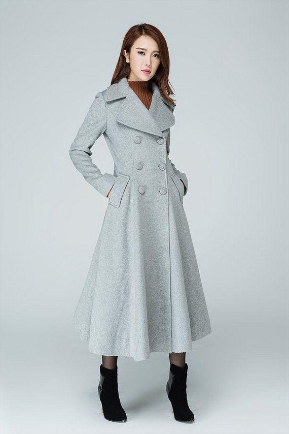 Maxi coat, wool outerwear, plus size coat, swing coat