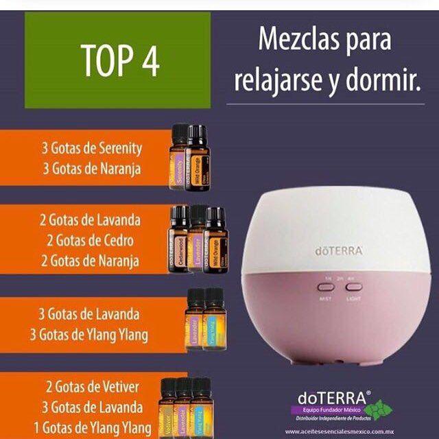 Aquí les dejo el Top 4 de mezclas relajantes para difusor.  #aceitesesenciales