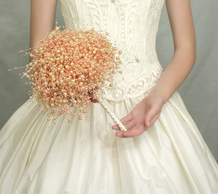 "PERFECT!!!!!    Wedding Flowers - Bridal Bouquet of Pink Peach Cream ""Bubble"" Pearl Beads - Wedding Bouquets - Fabulous Brooch Bouquet Alternative. $145.00, via Etsy.:"