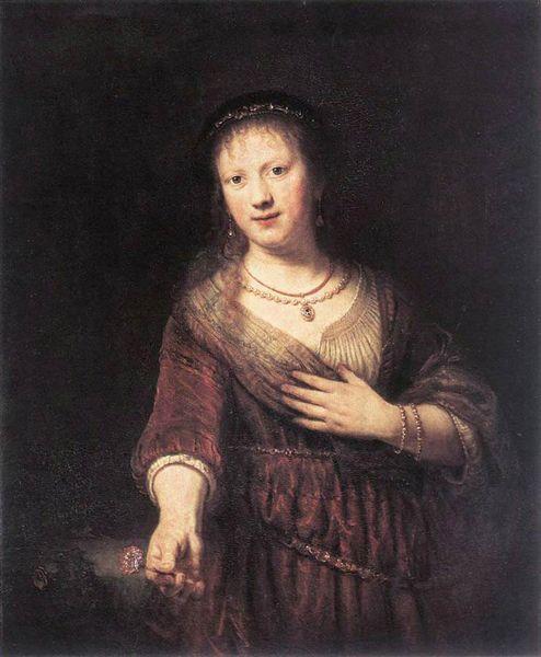 Rembrandt - Portrait de Saskia avec une fleur 1641