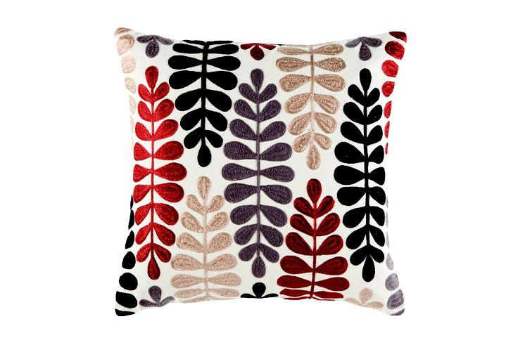 Enjoy a snap-shot of nature with this beautiful textured cushion.  It features a gorgeous appliquéd fern pattern in rich brown, russets and gold on a plush off-white cover.  Also available in green. Price $59.