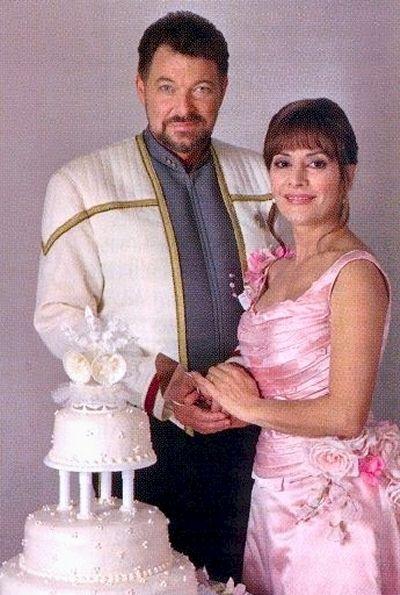 STARFLEET INTELLIGENCE FILE: Wedding holophotograph of Captain William Thomas Riker and Commander Counselor Deanna Troi; Alaska, Earth 2379. [STAR TREK Nemesis]