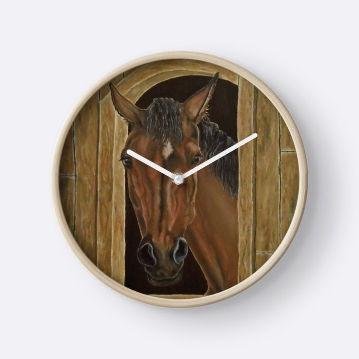 Wall Clock, artistic,decorative,items,horse,portrait,equine,modern,beautiful,awesome,cool,home,office,wall,decor,decoration,gifts,presents,ideas,for sale,redbubble