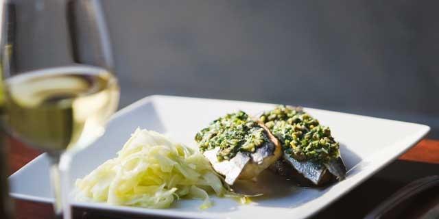 sardines, fresh, served cold in vinaigrette maybe...