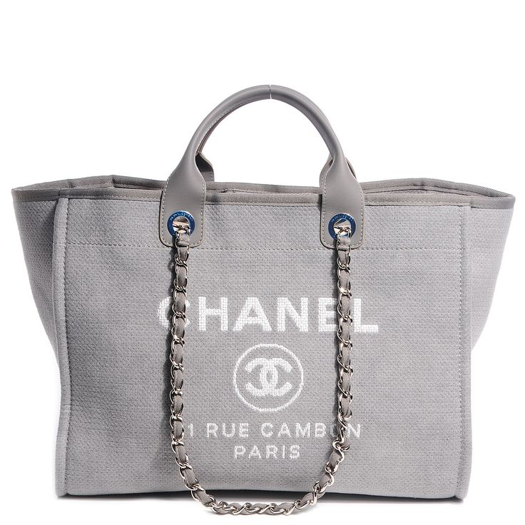 CHANEL Canvas Deauville Large Tote Grey NEW