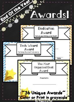 End of Year Awards for students! 36 unique end of the year awards. Kids love getting these awards from their teachers. I usually hand them out in a small classroom ceremony. The class has a ball, and each student feels special. Awards like these make school & teaching FUN! These use some color but also print beautifully in grayscale.  ( Kindergarten, First, Second, Third, Fourth, Fifth, Sixth Grade )