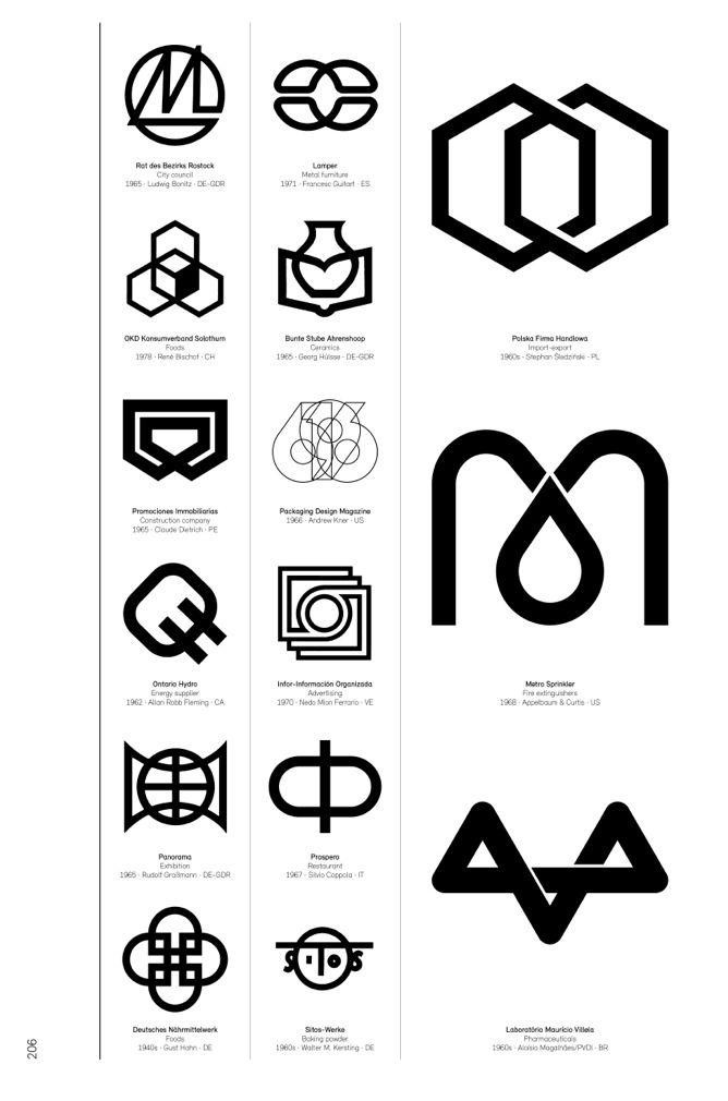Modernist logos with an overlay motif.