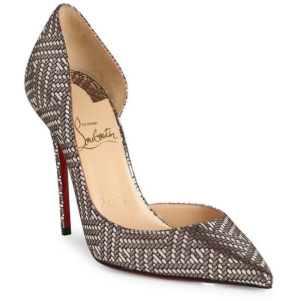 Christian Louboutin Pigalle Follies 100 Metallic Leather d'Orsay Pumps ($695) ❤ liked on Polyvore featuring shoes, pumps, pointed toe shoes, leather upper shoes, metallic leather pumps, metallic pumps and leather shoes