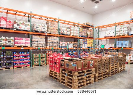HUMBLE, TX, US - NOV 23, 2016: Fresh produce refrigerated room in Costco store. Costco Wholesale Corporation is largest membership-only warehouse club in United States. Its known for low-price offers.