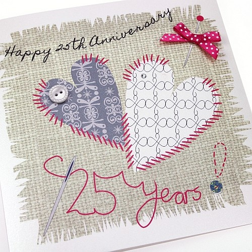 Handmade Silver Anniversary Card Stitched Hearts Button