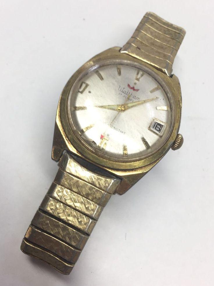Vintage Wrist Watch Waltham 17 Jewel Movement Gold Colored Elastic Band  | eBay