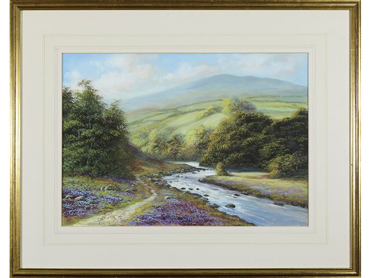 'River Landscape, Dartmoor, Devon' by Edward Godolphin. Original signed & framed watercolour / gouache.
